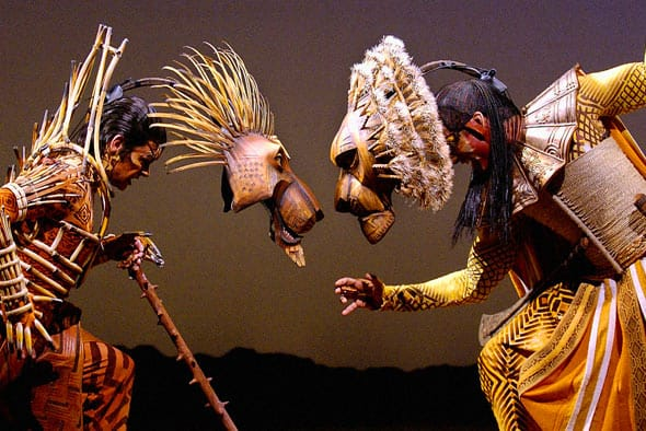 <p>Scar's mask weighs 9 ounces and Mufasa's mask weighs 11 ounces. Each mask…